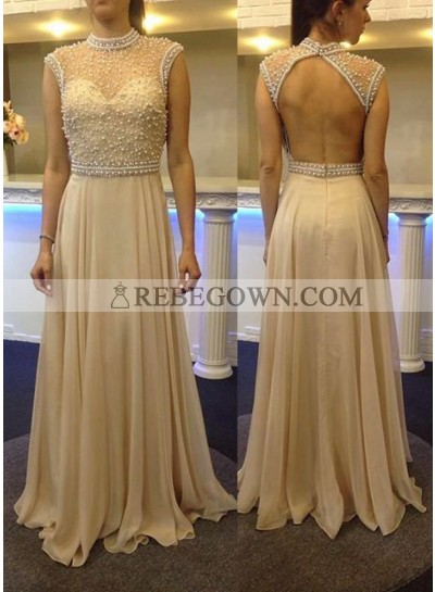 Beading Sheer High Neck Chiffon Champagne Prom Dresses