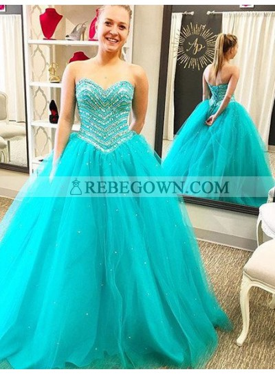 Sweetheart Lace Up Ball Gown Tulle Prom Dresses