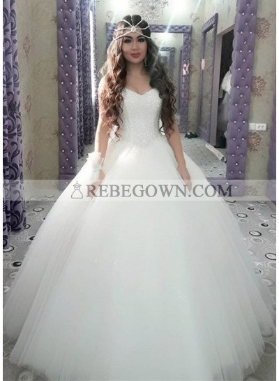 2020 Cheap Sweetheart Tulle With Beaded Ball Gown Wedding Dresses
