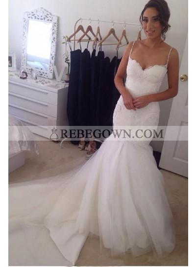 Charming Mermaid  Sweetheart Spaghetti Straps Tulle Wedding Dresses 2020