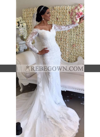 Elegant Sheath Off The Shoulder Long Sleeves 2021 Wedding Dresses
