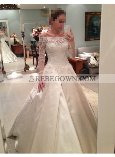 2020 Elegant A Line Satin Off The Shoulder Long Sleeves Wedding Dresses