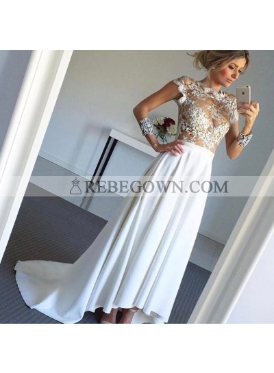 A Line High Low Satin See Through 2021 Wedding Dresses