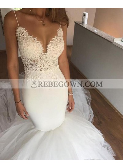Sexy Mermaid  Sweetheart With Spaghetti Straps Tulle Wedding Dresses 2021