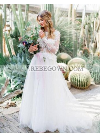 2021 Cheap A Line Tulle Sleeves Backless Wedding Dresses