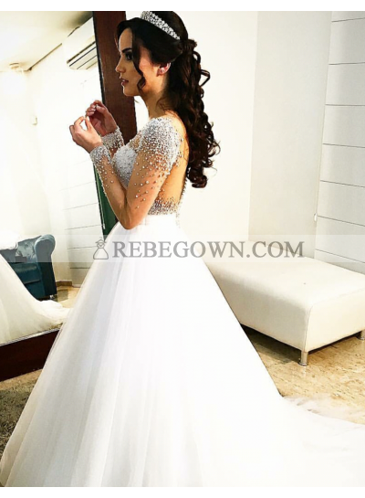 2021 New A Line Sweetheart Long Sleeves With Beads Wedding Dresses