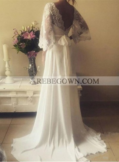 2020 Cheap A Line V Neck Lace Sleeves Back Bowknot Wedding Dresses