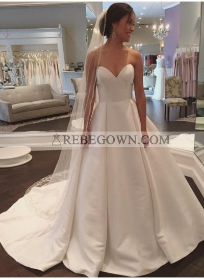 2020 Simple A Line Sweetheart Satin Plain Wedding Dresses