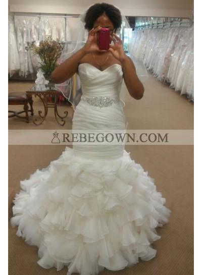 Alluring Mermaid  Sweetheart Organza Beaded Belt Ruffles 2021 Wedding Dresses