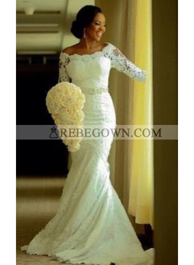 Sexy Mermaid  Off The Shoulder Lace Sleeves Bowknot Wedding Dresses