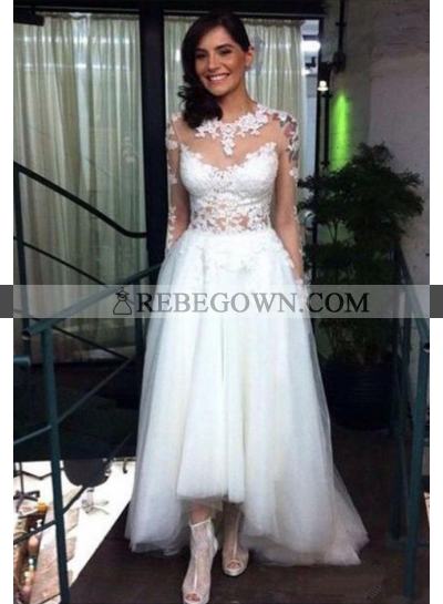 A Line High Low Tulle Long Sleeves 2021 Wedding Dresses