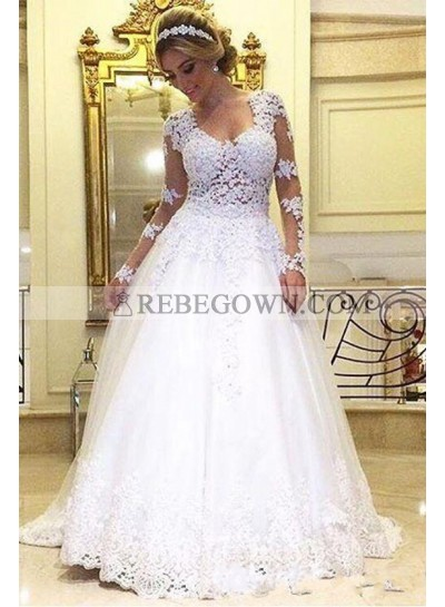 Best Selling A Line Sweetheart Long Sleeves 2021 Wedding Dresses