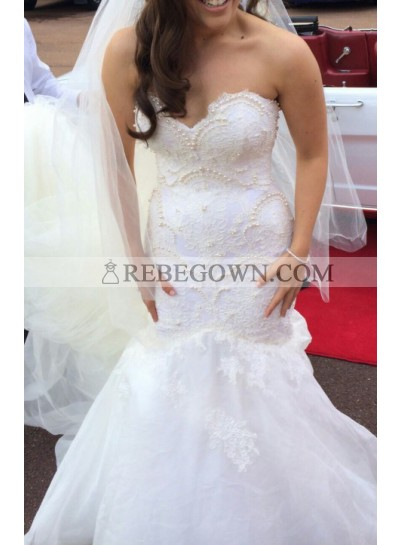 Sexy Mermaid  Sweetheart Lace With Pearls Tulle 2021 Wedding Dresses