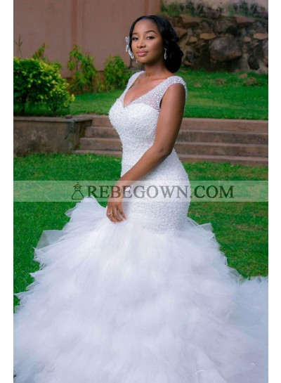 2021 New Arrival Mermaid  Sweetheart Layers Tulle Ruffles Beaded Wedding Dresses