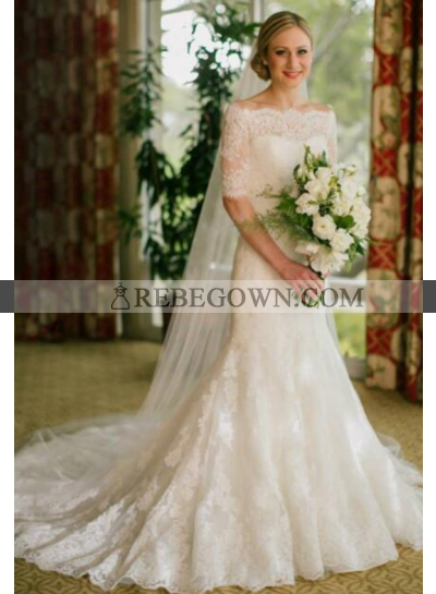 Elegant Lace Off The Shoulder Half Sleeves Sheath Wedding Dresses 2021
