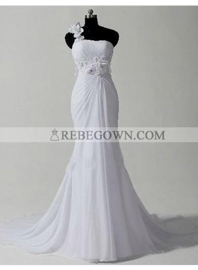 One Shoulder Chiffon Mermaid  2020 Chiffon Wedding Dresses With Flowers