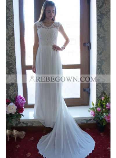 A Line Chiffon Beaded Bowknot Back Cheap Wedding Dresses