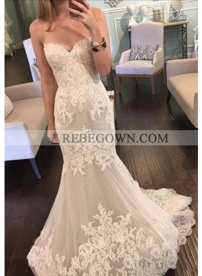 Mermaid  Strapless Tulle With Patterns 2021 Cheap Wedding Dresses