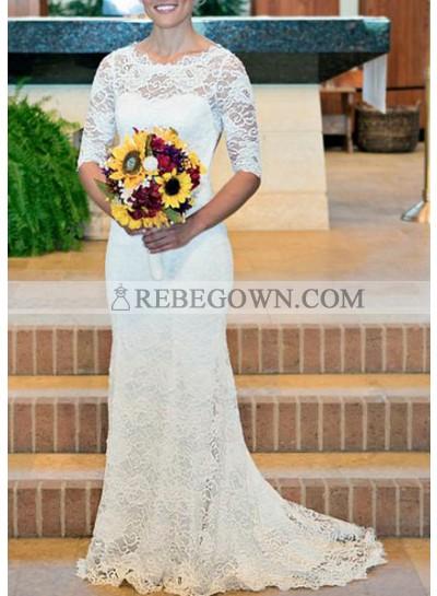 Classic Sheath Backless Half Sleeves 2021 Lace Wedding Dresses