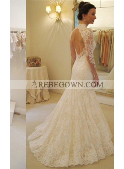 Charming Lace Sheath Long Sleeves Sweetheart 2020 Wedding Dresses