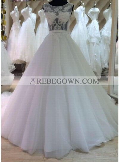 2021 New A Line Tulle Sweetheart Wedding Dresses