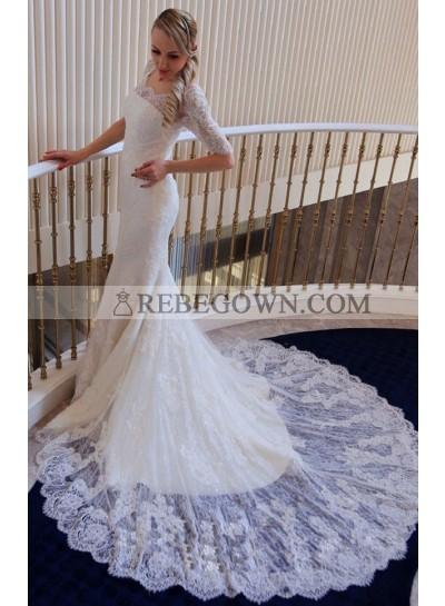Mermaid  Lace Long Sleeves Off The Shoulder 2021 Wedding Dresses