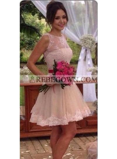 A Line Lace Knee Length Red Belt Short Wedding Dresses