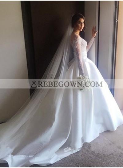 2021 Elegant A Line Satin Sweetheart Long Sleeves Wedding Dresses
