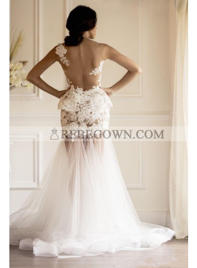 Sexy Sweetheart Tulle With Appliques Sheath 2021 Wedding Dresses