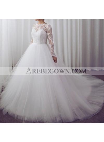 Elegant A Line Long Sleeves Lace Sweetheart Tulle Wedding Dresses
