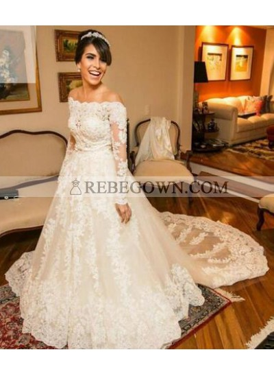 2021 A Line Long Train Lace Off The Shoulder Long Sleeves Wedding Dresses