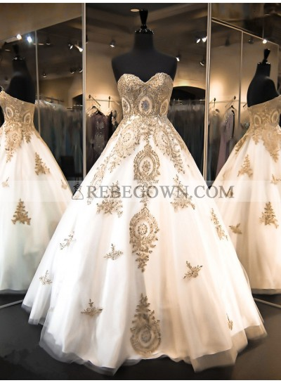 2021 New Arrival A Line Sweetheart Tulle With Gold Embroidery Wedding Dresses