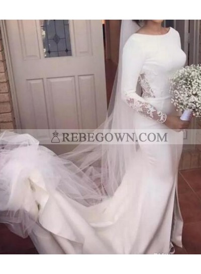 Elegant Scoop Satin Long Sleeves 2020 Backless Wedding Dresses