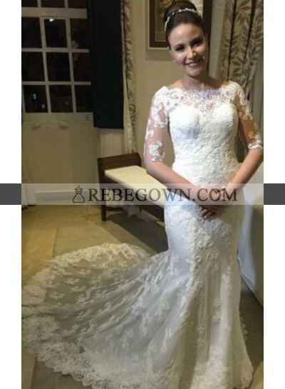 2021 Sheath Half Sleeves Lace Wedding Dresses With Small Train