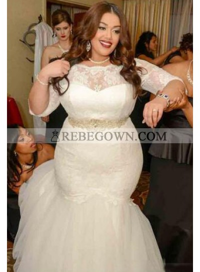 2020 Mermaid  Long Sleeves Lace Plus Size Wedding Dresses