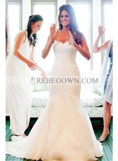 2021 Elegant Mermaid  Sweetheart Lace Wedding Dresses With Small Train