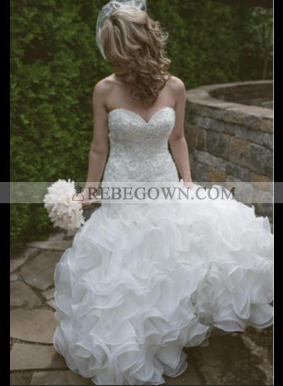 Sexy Mermaid  Sweetheart Tulle Layers Beaded Wedding Dresses 2021