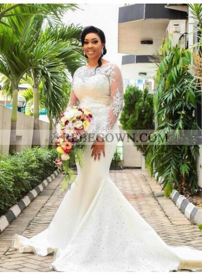 2021 Mermaid  Long Sleeves Satin Sweetheart Wedding Dresses