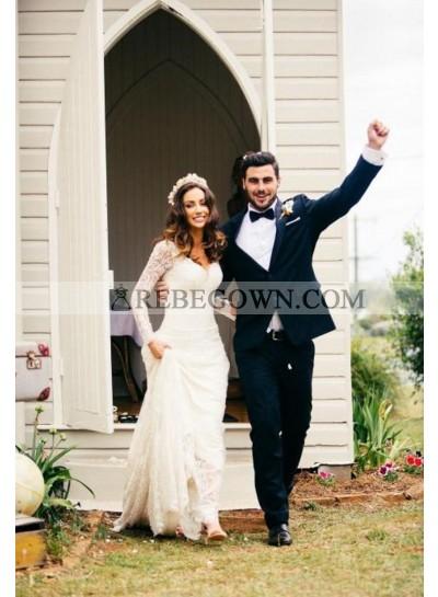 2021 Elegant Sheath Long Sleeves Sweetheart Lace Wedding Dresses