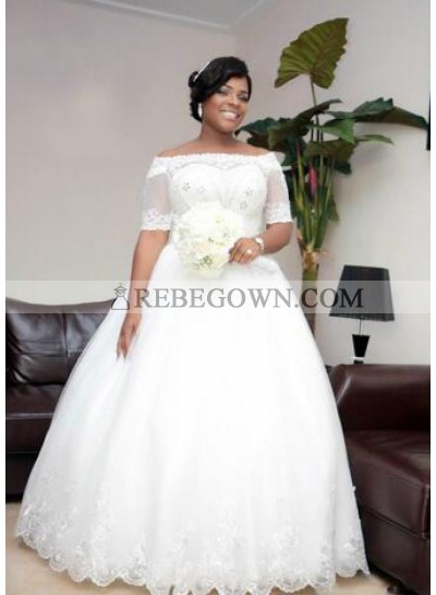 Cheap A Line Off The Shoulder Lace 2021 Half Sleeves Wedding Dresses