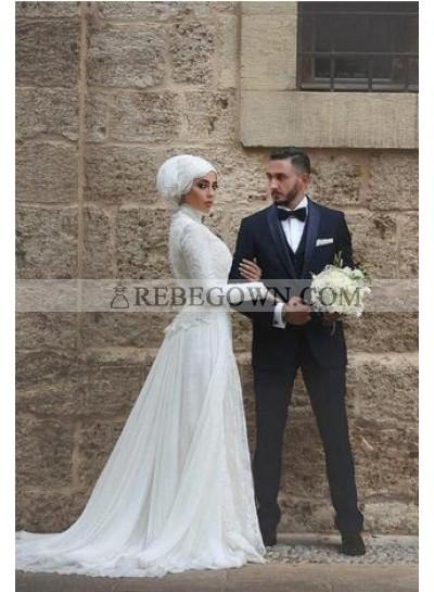 2021 Cheap A Line Chiffon Long Sleeves High Neck Wedding Dresses