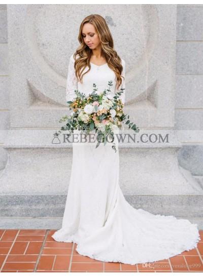 2021 Elegant Long Sleeves Lace V Neck Wedding Dresses