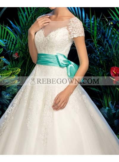 Classic A Line Capped Sleeves Tulle 2021 Wedding Dresses With Blue Belt