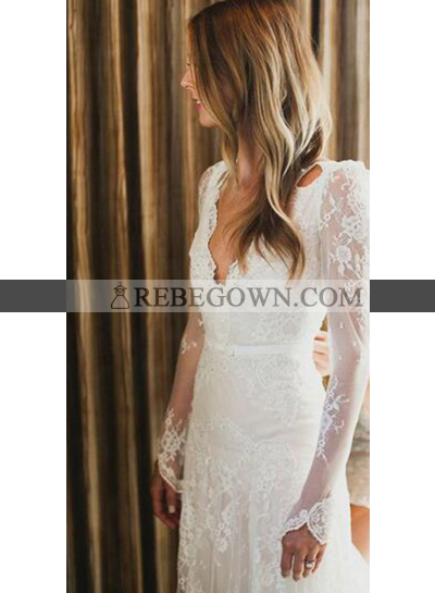 Sexy Backless Long Sleeves Lace 2021 Wedding Dresses