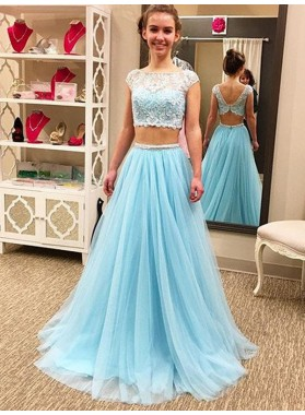 2020 A-Line Prom Dresses Bateau Blue Tulle Two Pieces Cap Sleeve Lace