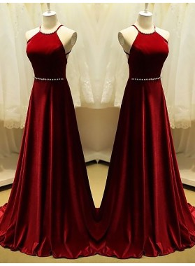 2020 A-Line Prom Dresses Burgundy Halter Pearls Straps Backless Satin Pleated