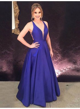 2020 Backless Prom Dresses Deep V-Neck Sleeveless Royal-Blue A-Line Long Satin