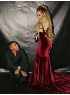 2020 Appliques Prom Dresses Long Sleeve Burgundy Satin Cut Out Sexy Beaded Mermaid Long
