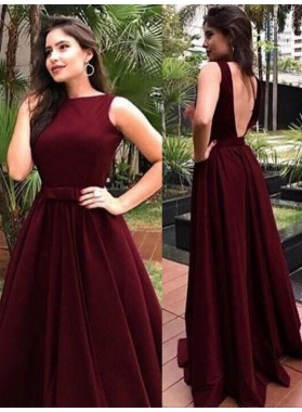 2020 Prom Dresses Bateau Burgundy Sleeveless Backless Satin Sexy Long Pleated Bow Knot
