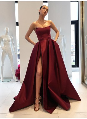 2020 Prom Dresses Asymmetrical Strapless Side Split Ball Gown Pleated Satin Burgundy